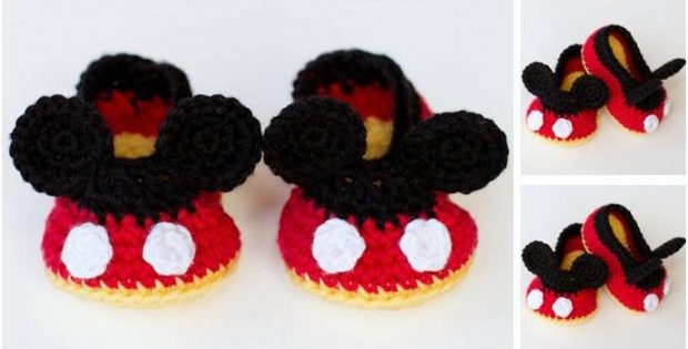 Mickey Mouse Crocheted Baby Booties Free Crochet Pattern