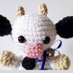 Mini Crochet Colby Cow. Close up of cows head    thecrochetspace.com