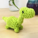Mini Crochet Dino Dinosaur. One Lime Green Dinosaur || thecrochetspace.com