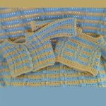 Minnie Layette Crochet Set. Blanket and Cardigan with front and back view || thecrochetspace.com