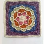 Namaste Joy Crochet Square. Square crafted in a mix of colors. Terracota, blue, purple, pink and cream || thecrochetspace.com