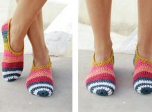 Summer Stripe Crochet Slippers | thecrochetspace.com