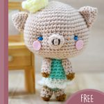 Perfect Princess Piggy Amigurumi. Piggy standing my a chair in the background || thecrochetspace.com