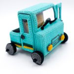 Pick Up Crochet Truck. Turquoise blue w/black & yellow side stripe. Realistic    thecrochetspace.com