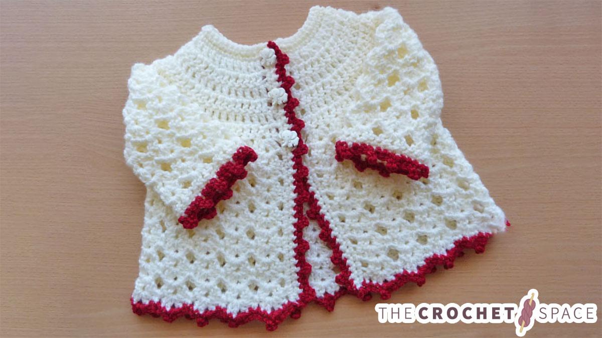 Picot Crochet Baby Cardigan || thecrochetspace.com