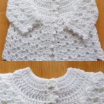 Picot Crochet Baby Cardigan. Newborn cardigan crafted all in white. Two front views of top and bottom || thecrochetspace.com