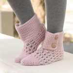 Pixie Dreams Crocheted Slippers. Slipper boots crafted in pink with 2x cuff buttons || thecrochetspace.com