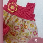 Pretty-Pixie Crochet Baby Dress. Red crochet yoke with material skirt || thecrochetspace.com