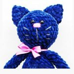 Plush Crochet Kitty Kat. Crafted in blue with pink nose and matching ribbon || thecrochetspace.com