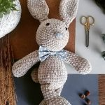 Plush Crochet Velvet Bunny. Crafted in grey velvet with grey bowtie with white spots || thecrochetspace.com