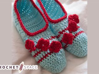 Posy Toes Crocheted Slippers    thecrochetspace.com