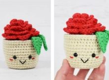 potted rose | thecrochetspace.com