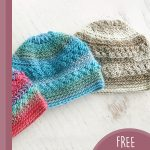 Precious Newborn Crochet Beanie. Image of three beanies in different colors    thecrochetspace.com