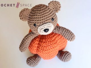 Pumpkin Patch Crochet Teddy || thecrochetspace.com