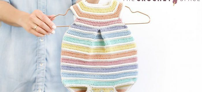 Rainbow Colors Crochet Romper || thecrochetspace.com
