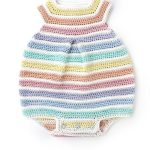 Rainbow Colors Crochet Romper. Multi Colored, square neck with pleast at front || thecrochetspace.com