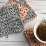Remix Square Crochet Coasters. Several coaster images in terracotta and grey. Different borders.|| thecrochetspace.com