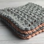Remix Square Crochet Coasters. Stacked 4 Coasters. 2 in Grey and 2 in Terracotta || thecrochetspace.com
