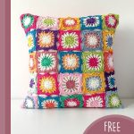 Retro Lenny Crochet Pillow. Crafted in multicolors on a white background || thecrochetspace.com