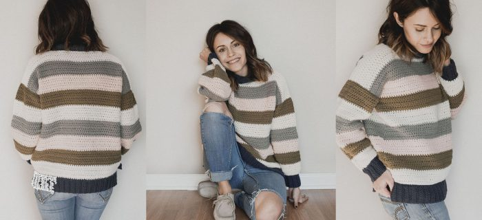 Retro Striped Crochet Sweater || thecrochetspace.com