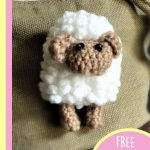 Sally Sheep Crochet Brooch. Crafted in white and beige ready for Easter || thecrochetspace.com
