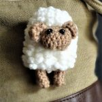 Sally Sheep Crochet Brooch. pinned on a coat || thecrochetspace.com