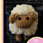 Sally Sheep Crochet Brooch. Close up of pin. Ready for Easter || thecrochetspace.com