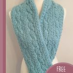 Sea Shells Crochet Cowl. Crafted in dusky blue and hanging loose || thecrochetspace.com