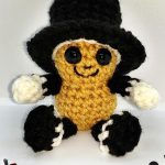 Seasonal Amigurumi Peanut Bestie. Peanut with happy face and black top hat || thecrochetspace.com