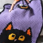 Seasonal Crochet C2C Blanket. Halloween blanket thrown over a little kiddie. Purple background, with black cat and hanging spider || thecrochetspace.com