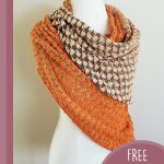 Shell Stitch Crochet Shawl. Shawl crafted in orange and brown shell stitch || thecrochetspace.com