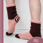 Simply Spiral Crochet Socks. Crafted in brown and peach    thecrochetspace.com