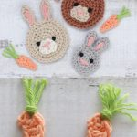 Small Carrot Crochet Accent Split Image. Top Image Are Bunny Crochet Faces With The Carrots. The LOwer Image Is Of Two Carrots Only || thecrochetspace.com