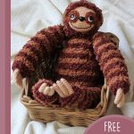 Sill Sloth Amigurumi Buddy. Laying in a basket || thecrochetspace.com