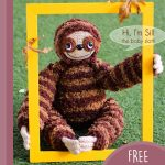 Sill Sloth Amigurumi Buddy. In a National Geographic yellow frame || thecrochetspace.com