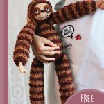 Sill Sloth Amigurumi Buddy. Child standing and holding the sloth || thecrochetspace.com