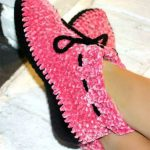 So Soft Crochet Slippers. Bright pink with black soles and black thick tie cord on cuff    thecrochetspace.com