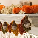Special Autumn Crocheted Accents. Pumpkins and acorns with leaves crafted in Fall colors || thecrochetspace.com