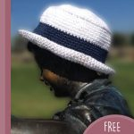 St.Tropez Crochet Hat. White hat, with small brim and blue stripe || thecrochetspace.com
