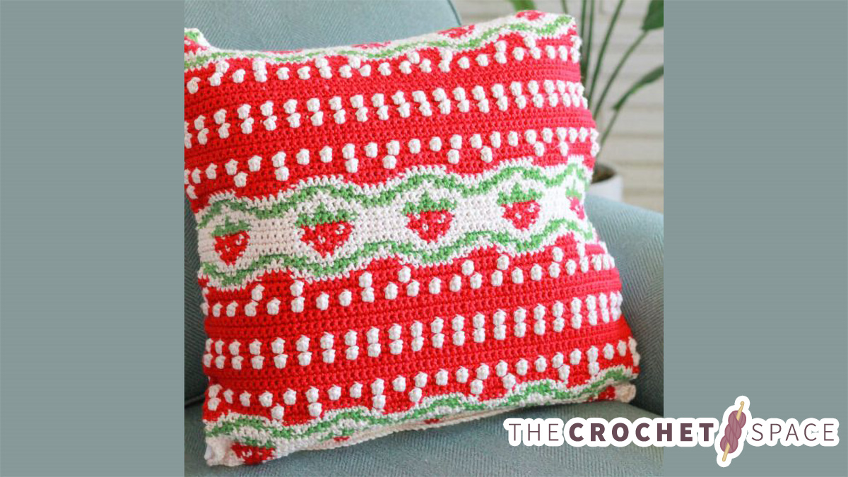Strawberry Tapestry Crochet Pillow    thecrochetspace.com