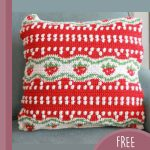 Strawberry Tapestry Crochet Pillow. Crafted in red, white and green    thecrochetspace.com