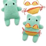 Summer Crochet Beach Cat. Cats crafted in turquoise with red and yellow bikini    thecrochetspace.com