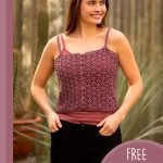 Summer Light Crochet Camisole. Crafted in a deep burgundy color and worn with jeans || thecrochetspace.com