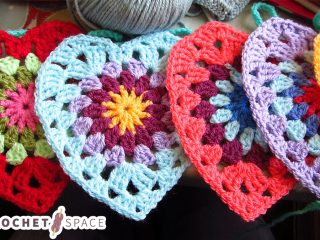 Sunburst Crocheted Granny Hearts || thecrochetspace.com
