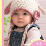 Sweet Crocheted Bunny Hat. Crafted in cream with pink accents || thecrochetspace.com