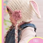 Sweet Crocheted Bunny Hat. Side view of hat with bunny ears , tie and flower || thecrochetspace.com
