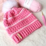 Sweetest Pea Crochet Slouch. Beanie crafted in Pink with white camel stitch and white pom pom || thecrochetspacecom