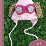 Toddler Paw-Patrol Crochet Hat. Crocheted in pink with fuscia goggle and brown soft, puppy ears || thecrochetspace.com