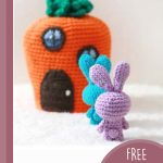 Travelling Amigurumi Rabbit Family. Carrot house with bunnies lined up outside waiting to go in || thecrochetspace.com