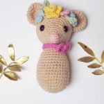 Tricky Dicky Crochet Doormouse. One little doormouse with a pink neck bow and flowers on head || thecrochetspace.com